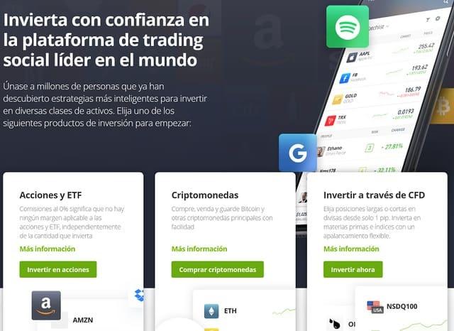 plataforma para invertir dinero eToro